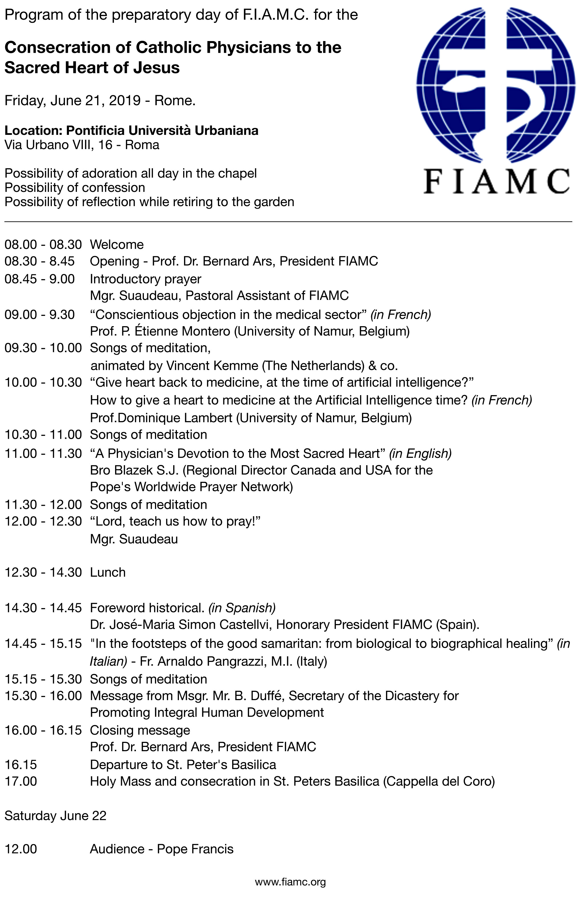 Rim Program FIAMC Posveta 2019